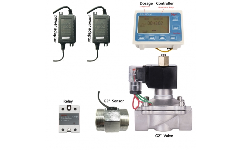 "ZJ-LCD-M Dosage Controller Flow Reader for BSPP G2"" Pipe Line hall effect water flow sensor with solenoid Valve"